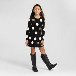 Cat & Jack Polka Dot Sweater Dress Girls Sz L
